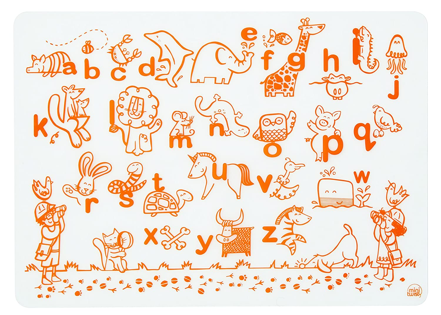mini-twist Kids Silicone Coloring Placemat Alphabet Animals, Orange, Without Markers modern-twist DMAA
