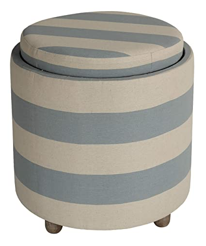 Brilliant Cortesi Home Ch Ot220100 Keyes Round Storage Ottoman 19 75 High Blue And White Stripes Fabric Caraccident5 Cool Chair Designs And Ideas Caraccident5Info