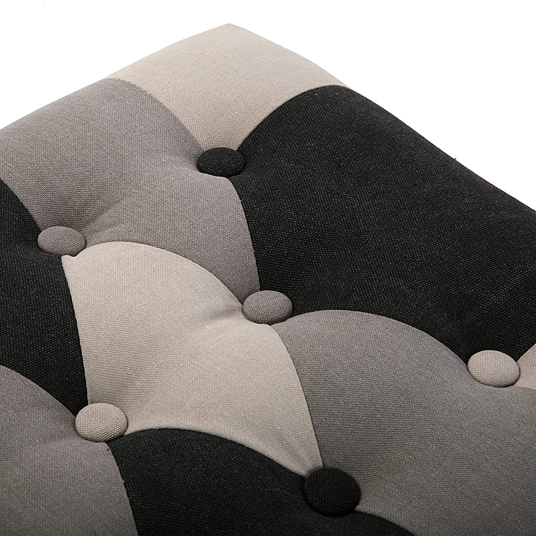 Gris y negro Versa 19880542 Taburete pie de cama Smith 45x40x80 cm Banco