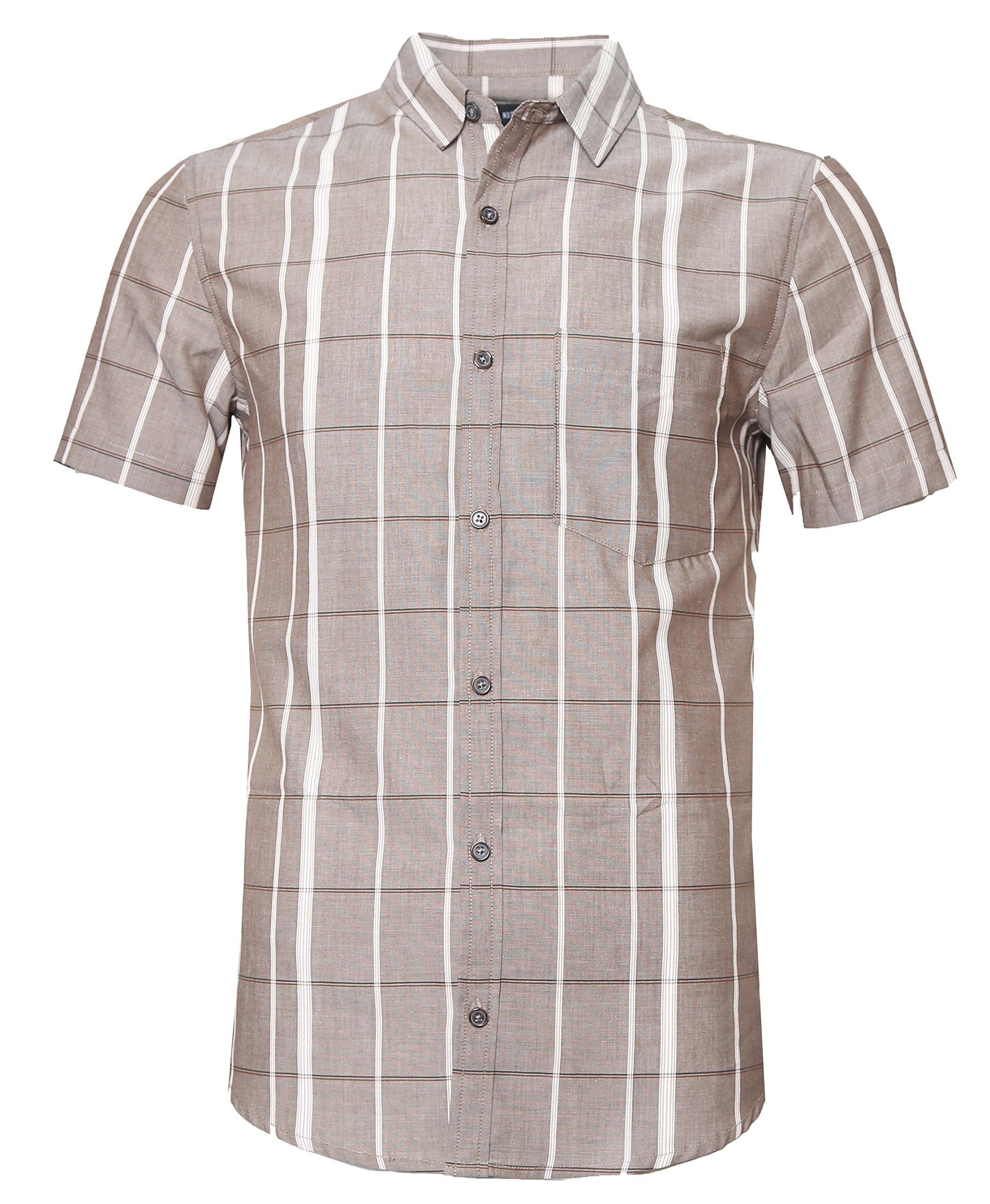SOOPO Mens Casual Regular Fit Short Sleeve Button Down Plaid Checked Shirts Brown 3XL