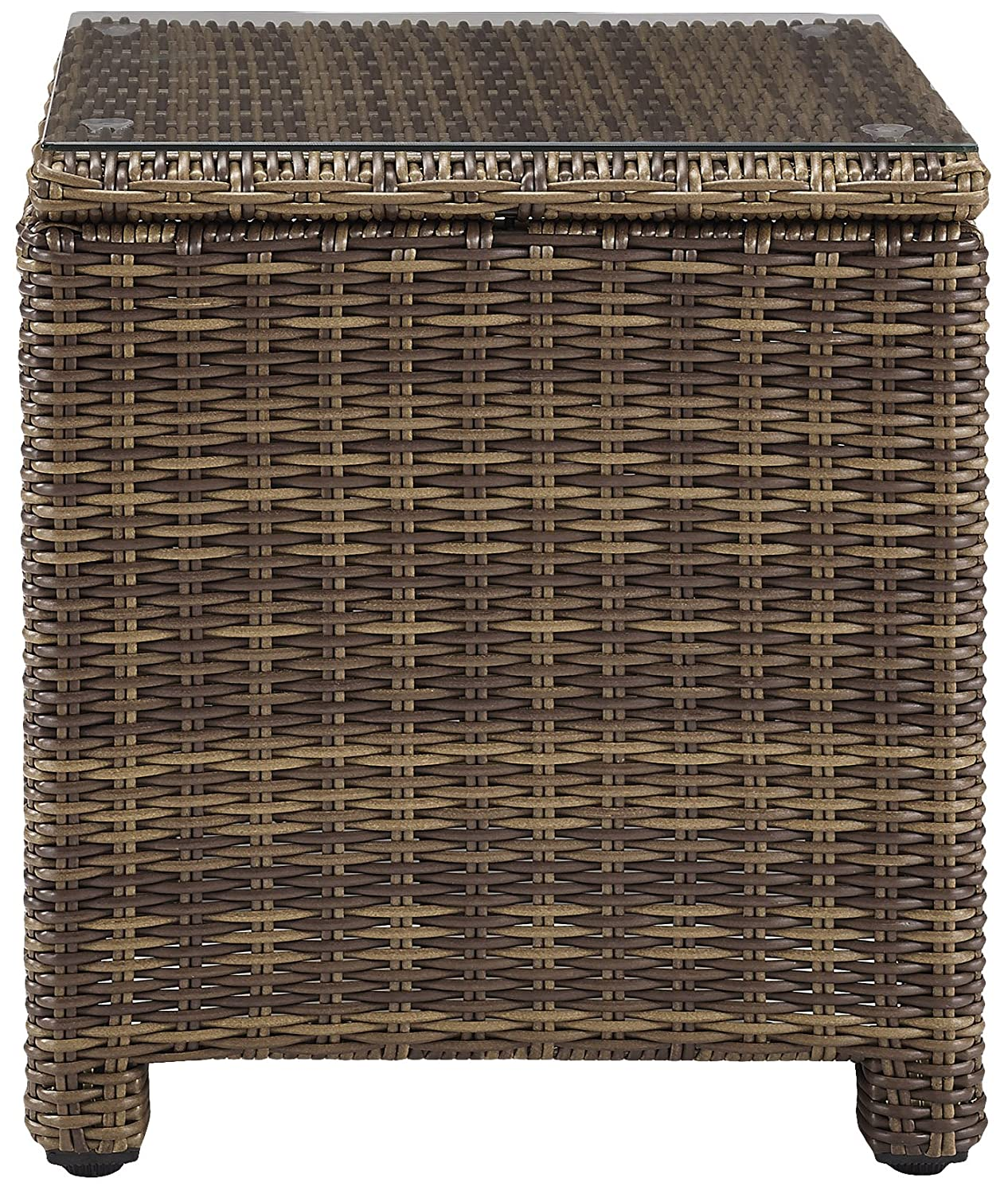 Weathered Brown Crosley Furniture Bradenton Outdoor Wicker Rectangular Side Table with Glass Top