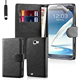 32nd® Book wallet PU leather case cover for Samsung Galaxy Note 2 N7100 + screen protector, cleaning cloth and touch stylus - Black