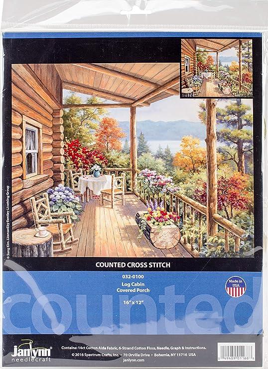 Janlynn Porche Cubierto Kit de Punto de Cruz, diseño de cabaña, algodón, Multicolor, 40,5 x 30,5 x 0,1 cm: Amazon.es: Hogar