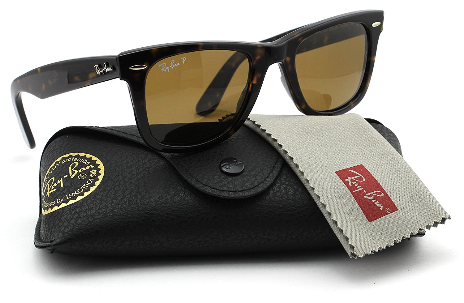 74ca919ac5 Amazon.com  Ray-Ban RB2140 902 57 Wayfarer Havana Frame   Brown Polarized  Lens 50mm  Clothing