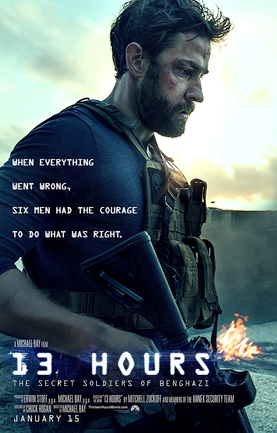 13 Hours: The Secret Soldiers of Benghazi - Movie Poster (2016), Size 12 x 18