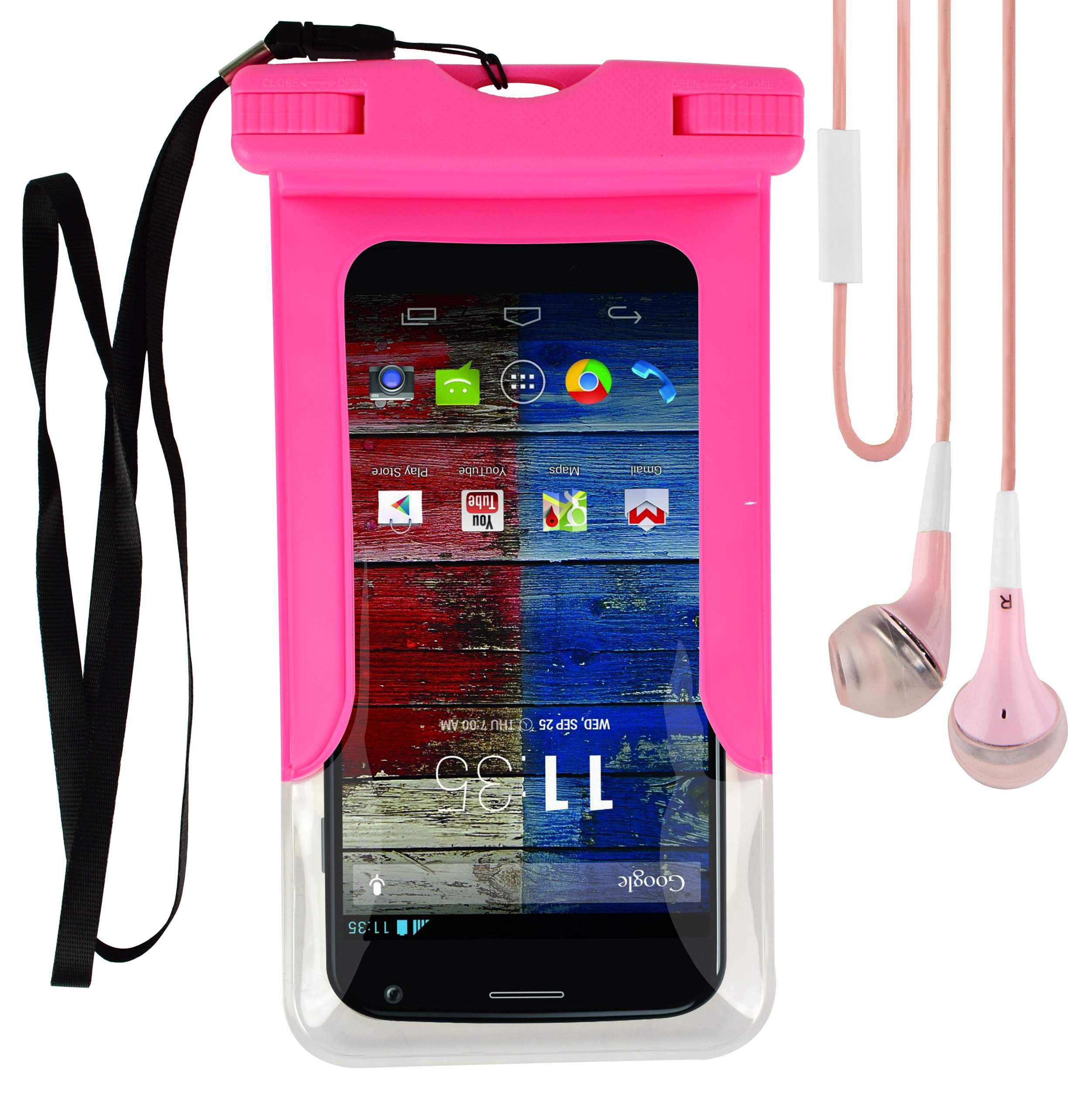 Universal Waterproof Case Cover Pouch Dry Bag with Touch Responsive Front and Back Transparent Screen Protector Windows & Strap for Motorola Droid Turbo/ Moto X/ G/ E Fit up to 5.5 Inch Android Phone + VG Earphones with MIC (Pink)