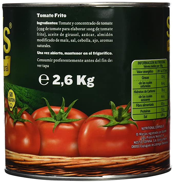 tomate natural hidratos de carbono