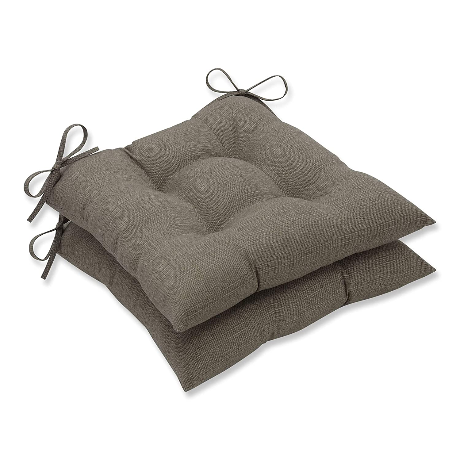 Pillow Perfect Indoor Outdoor Taupe Textured Solid Tufted Seat Cushion, 2-Pack