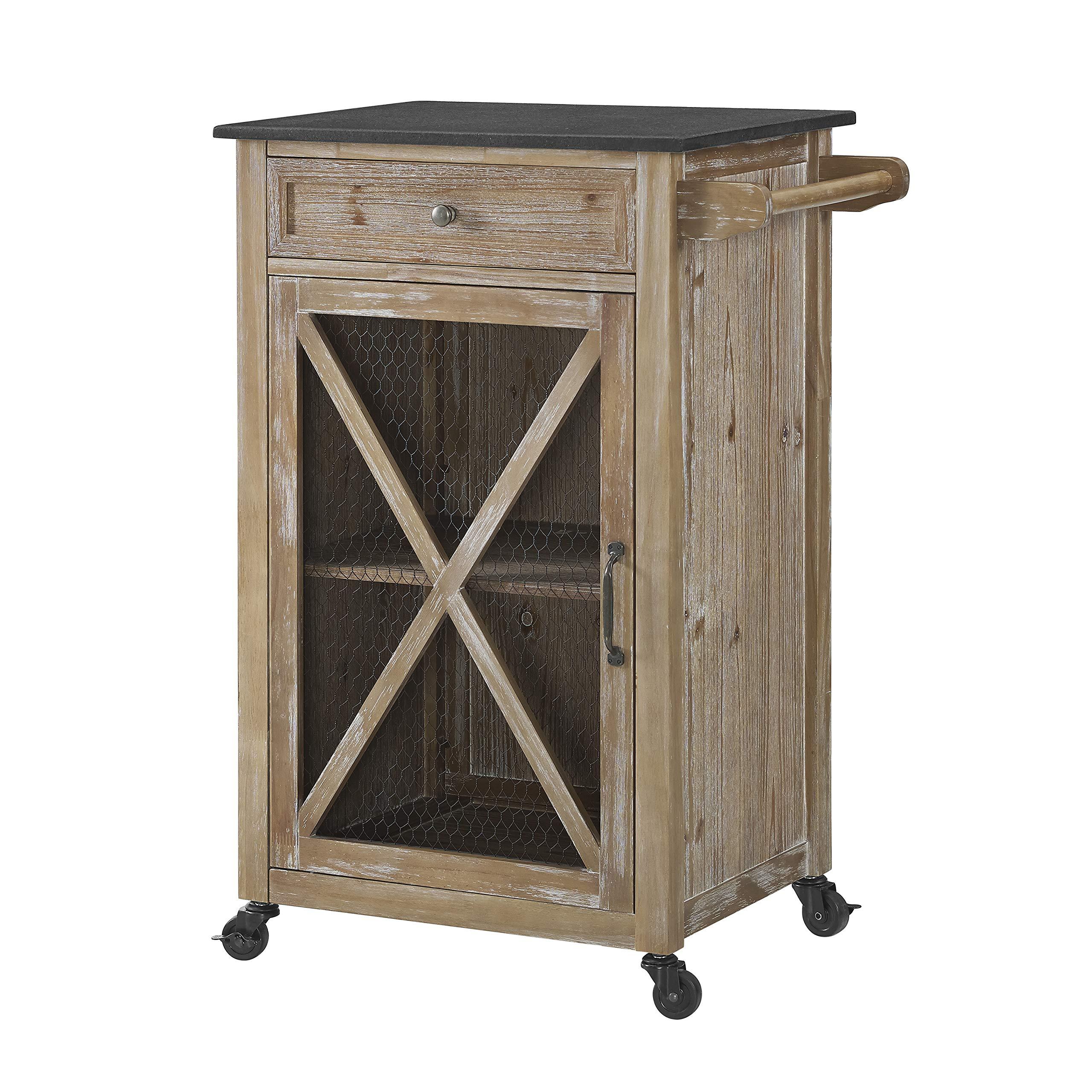 Linon Home Décor AMZN1303 Carpenter Kitchen EZ Assembly Cart, Rustic Brown