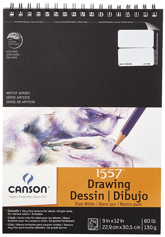 CANSON 100510890 Zeichnen Pad, Double Wire Spiralbindung, 24 Blatt, x Papier, 22,9 x Blatt, 30,5 cm Größe, weiß 34a433