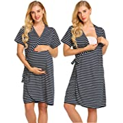 Ekouaer Maternity Robes for Hospital, Women Pregnant Labor Delivery Nursing Gowns(Navy Blue,M)
