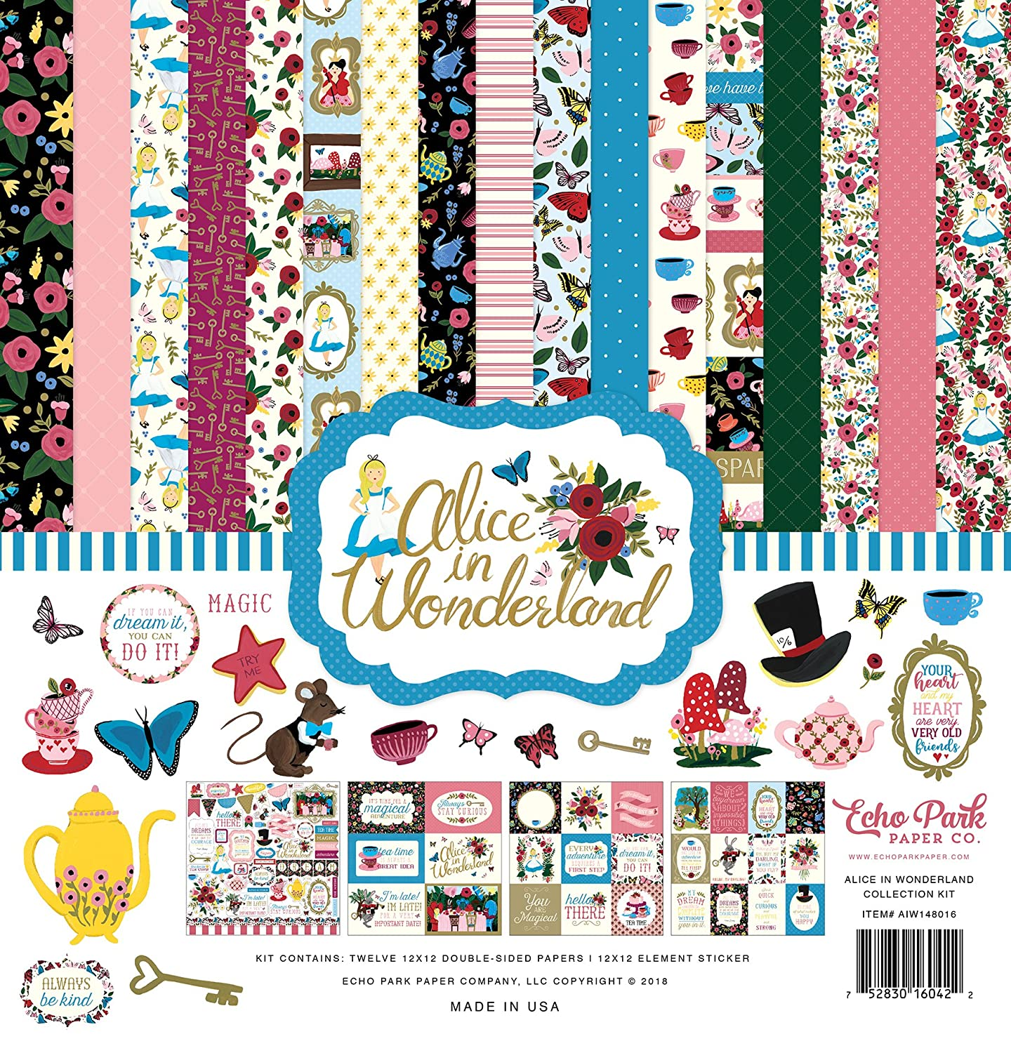 Echo Park Paper Company Alice in Wonderland Collection Kit AIW148016