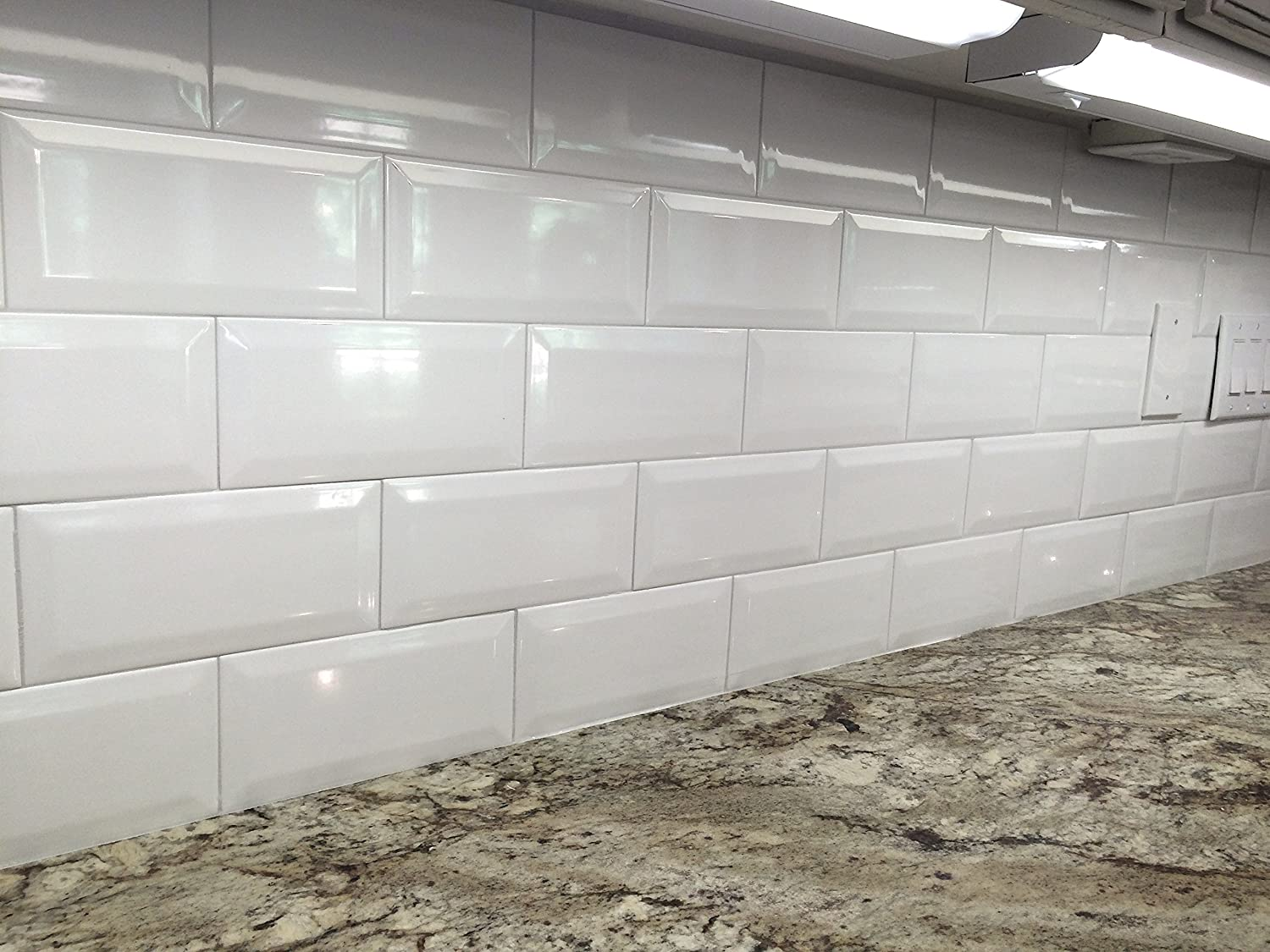 4x8 soft white wide beveled subway ceramic tile backsplashes walls 4x8 soft white wide beveled subway ceramic tile backsplashes walls kitchen shower amazon dailygadgetfo Gallery