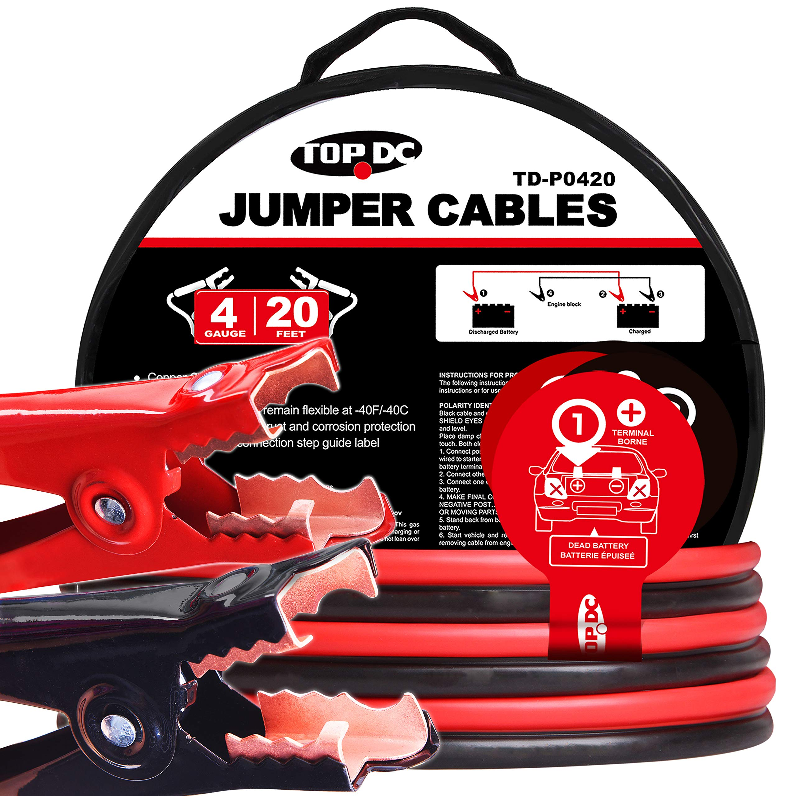 TOPDC Battery Jumper Cables 4 Gauge 20 Feet Heavy Duty Booster Cables with Carry Bag (4AWG x 20Ft) by TOPDC