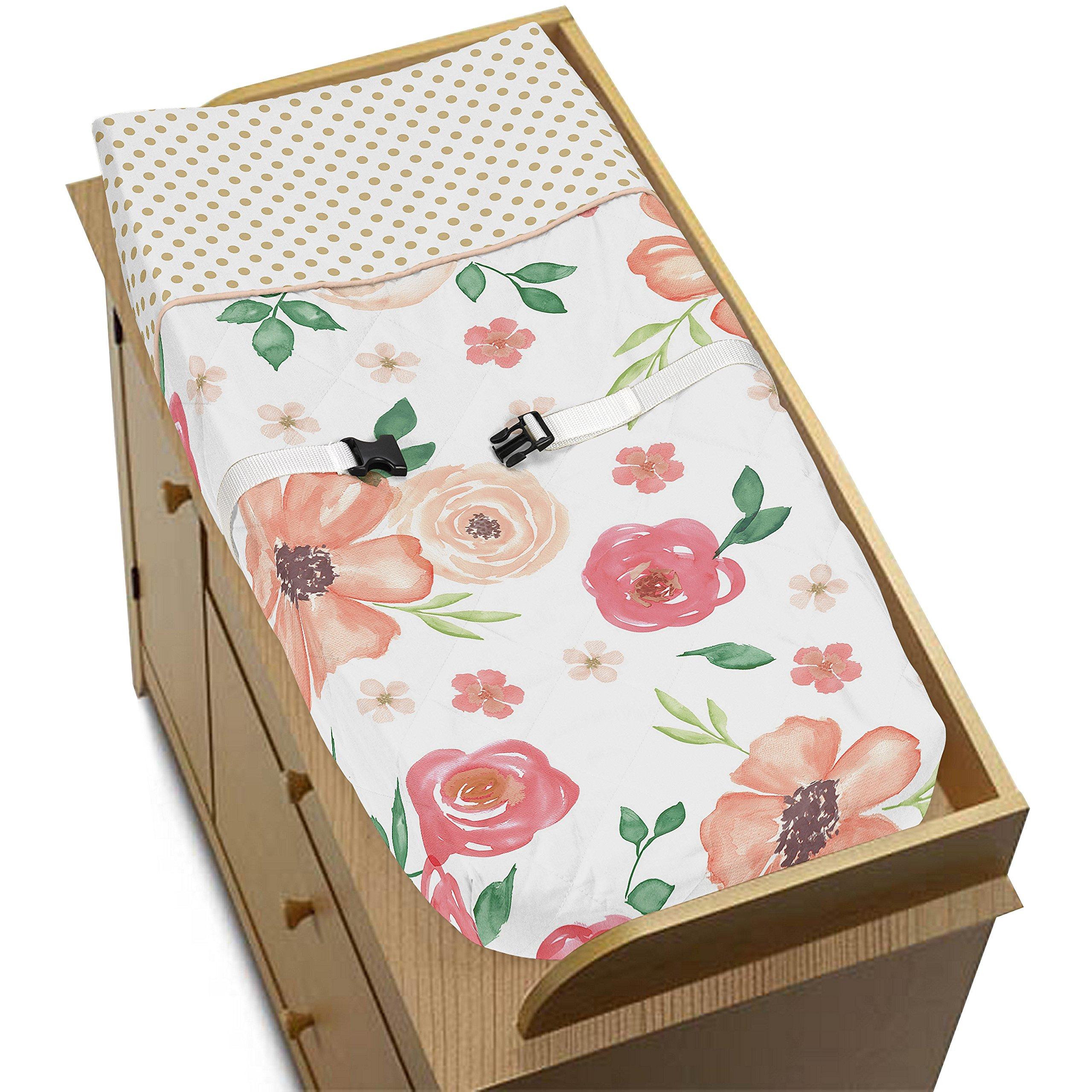 Sweet Jojo Designs Peach, Green and Gold Changing Pad Cover for Watercolor Floral Collection - Pink Rose Flower by Sweet Jojo Designs