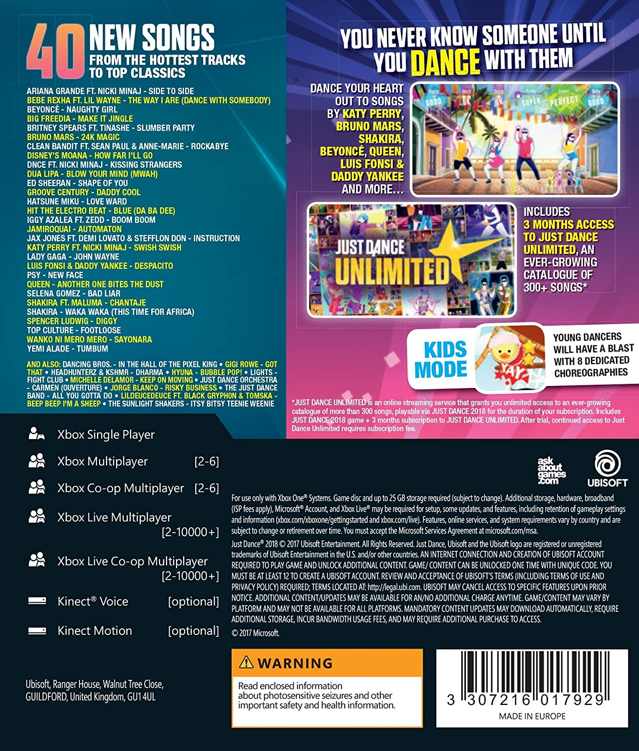 Just Dance 2018 - Xbox One [Importación inglesa]: Amazon.es ...