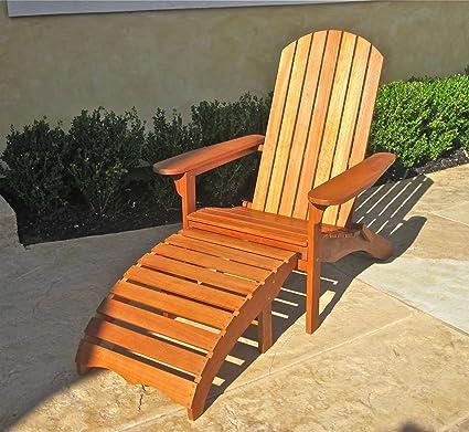 Etonnant International Caravan Balau Adirondack Patio Chair With Footrest
