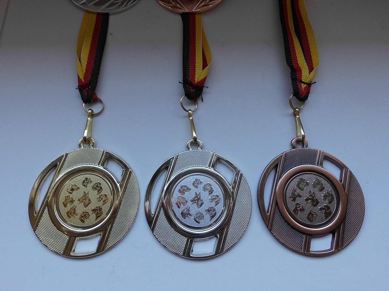 Hund 9 Hundek/öpfe mit Metall 50mm e257 Silber Hunde Bronze mit Medaillen-Band Hundesport mit Emblem 25mm - Fanshop L/ünen Medaillen Set Gold