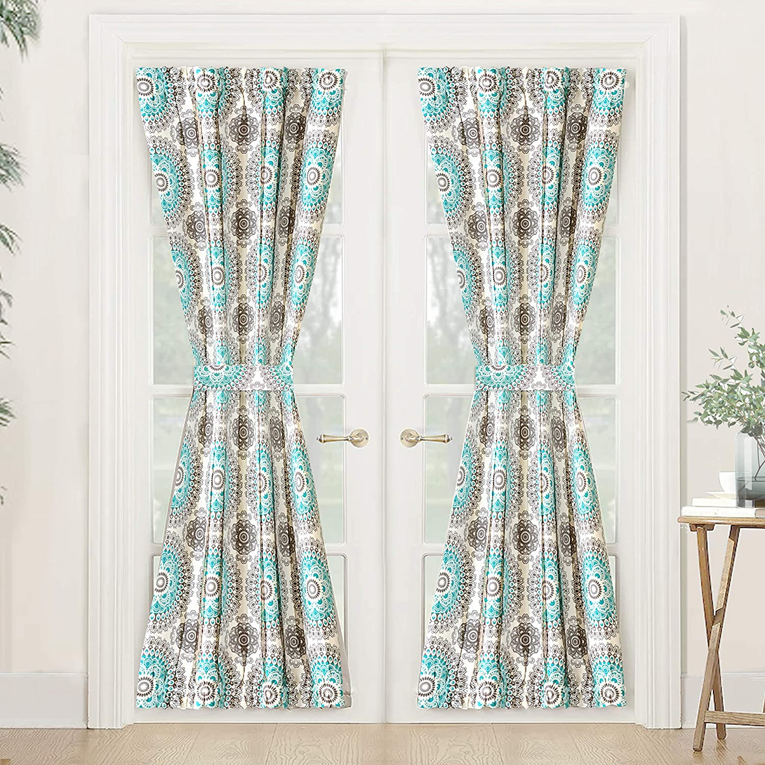 "DriftAway Bella Door Curtain,Thermal Room Darkening Privacy French Door Panel for Patio Sliding Window,Single Rod Pocket Curtain with Bonus Matching Tieback,52""Wide By 72"" Long +1.5"" Header(Aqua/Gray)"