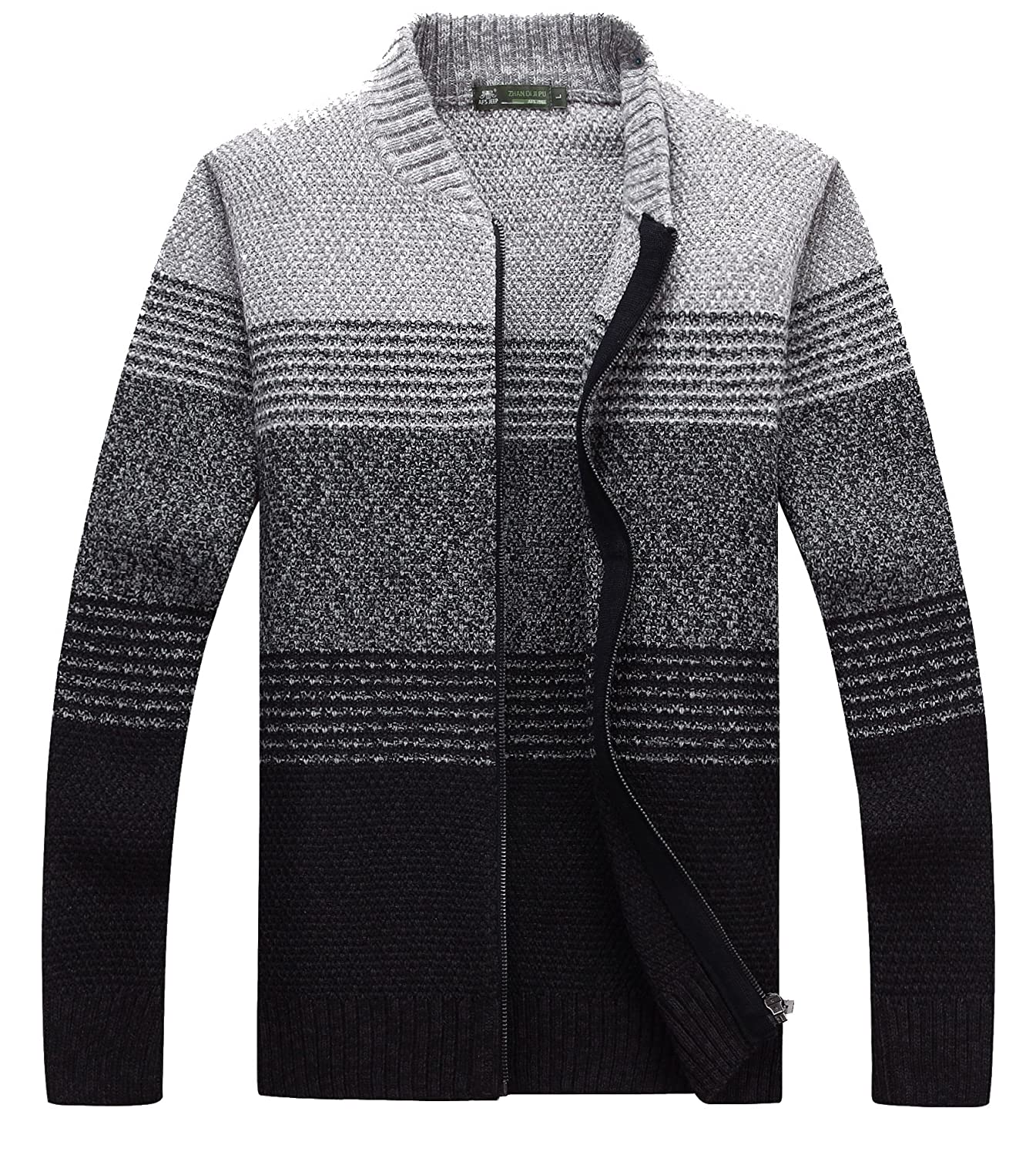 Size M-7XL fanhang Mens Long Sleeve Slim Fit Zip Up Color Gradient Cardigan Sweater Knitwear