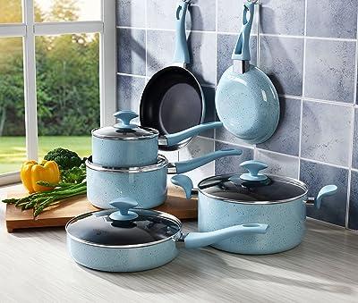 Pots and Pans Set, COOKSMARK Pearl Hard Porcelain Enamel Nonstick Cookware Set