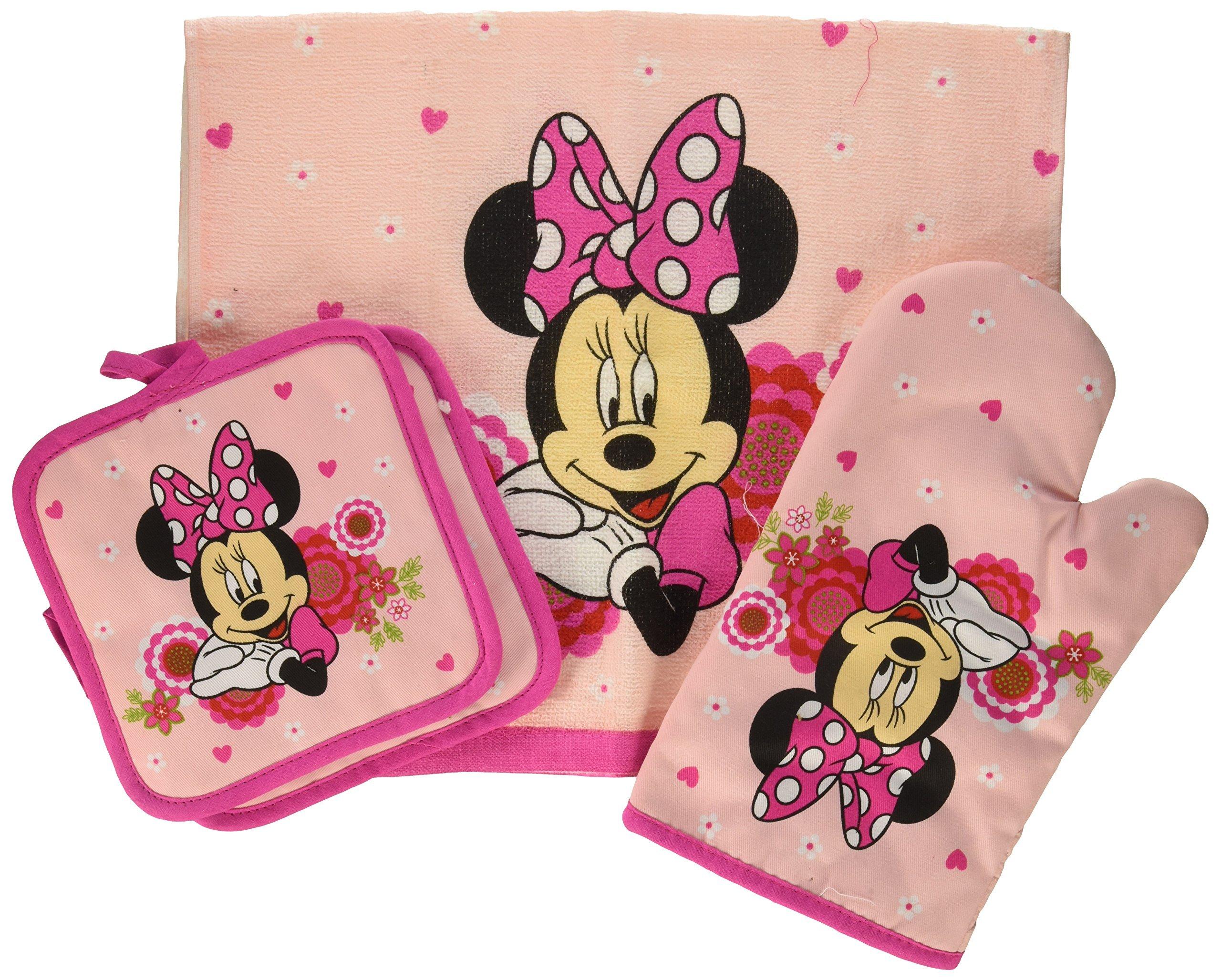Disney Minnie Mouse Pink Floral 4-pc Kitchen Set: Towel, Oven Mitt & 2 Pot Holders