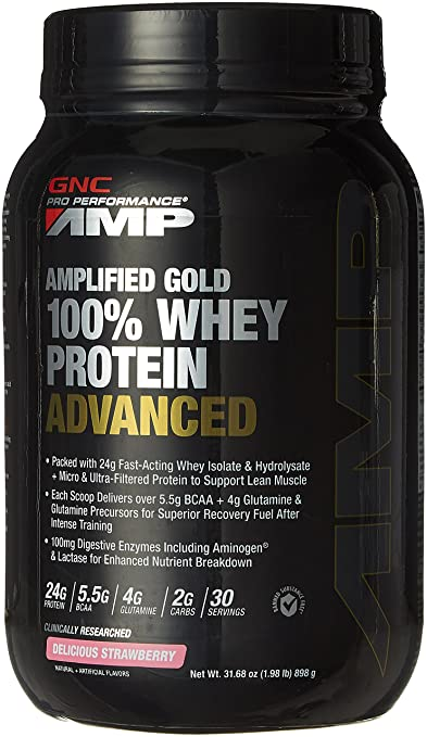 GNC AMP Amplified Gold 100% Whey Protein Advanced - 1.98 lbs, 0.89 Kg (Delicious Strawberry) Whey Proteins at amazon