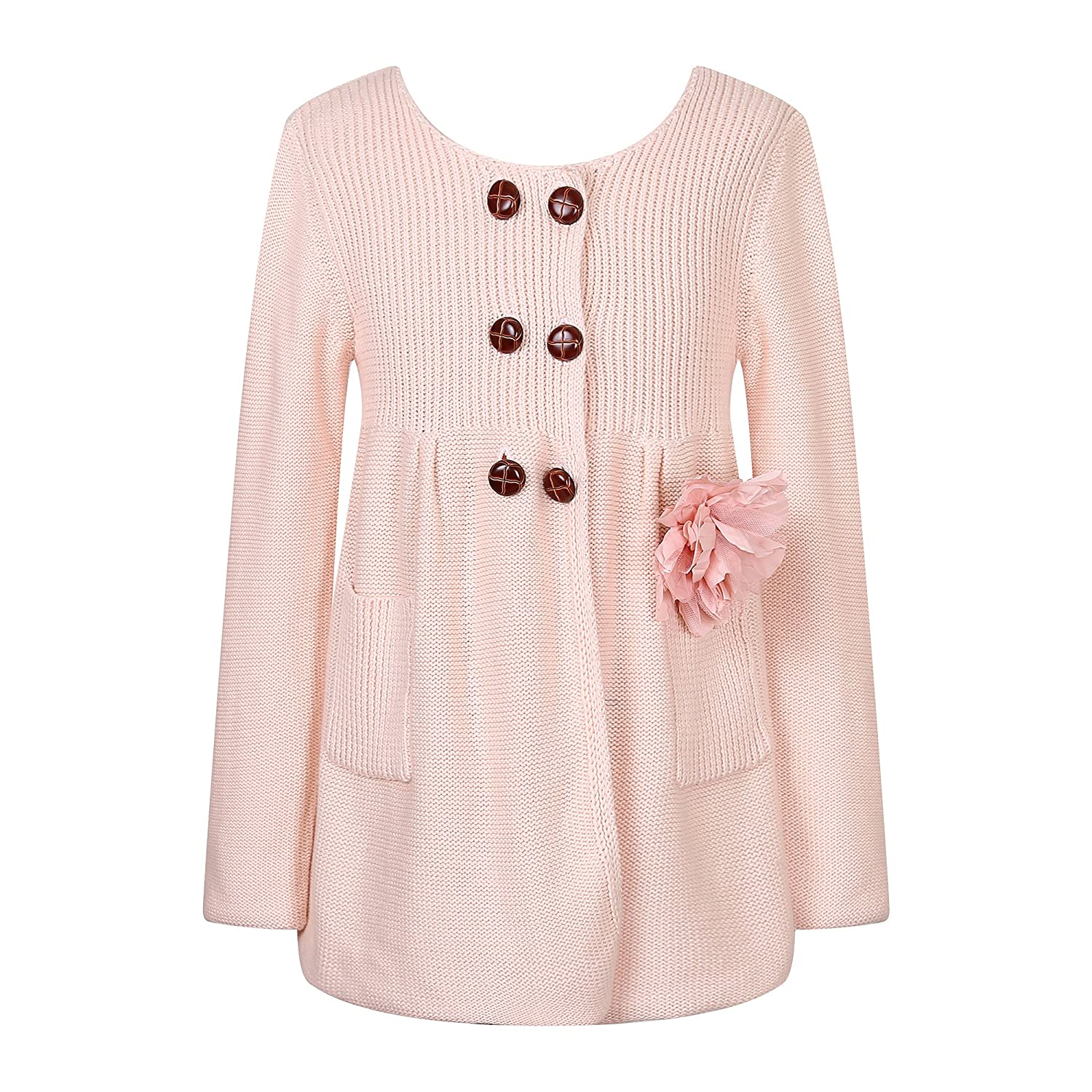 Richie House Girls' Knit Coat with Flower Accessory RH0152