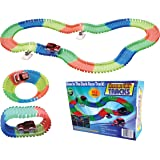 Light Up Twisting Glow In The Dark Race Tracks - Twisting Racing Track With Endless Glowing Track Possibilities - Neon Glow Twisting Tracks - Includes Tracks, Toy Car, Risers, Decals - 164pc Set