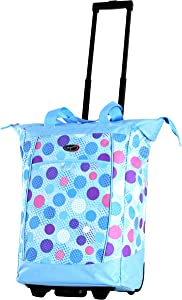 Olympia Fashion Rolling Shopper Tote - Blue Polka Dots, 2300 cu. in.