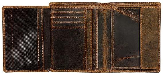 Klondike 1896 Cartera de cuero auténtico Evan en formato vertical, elegante monedero de cuero para hombres, marrón