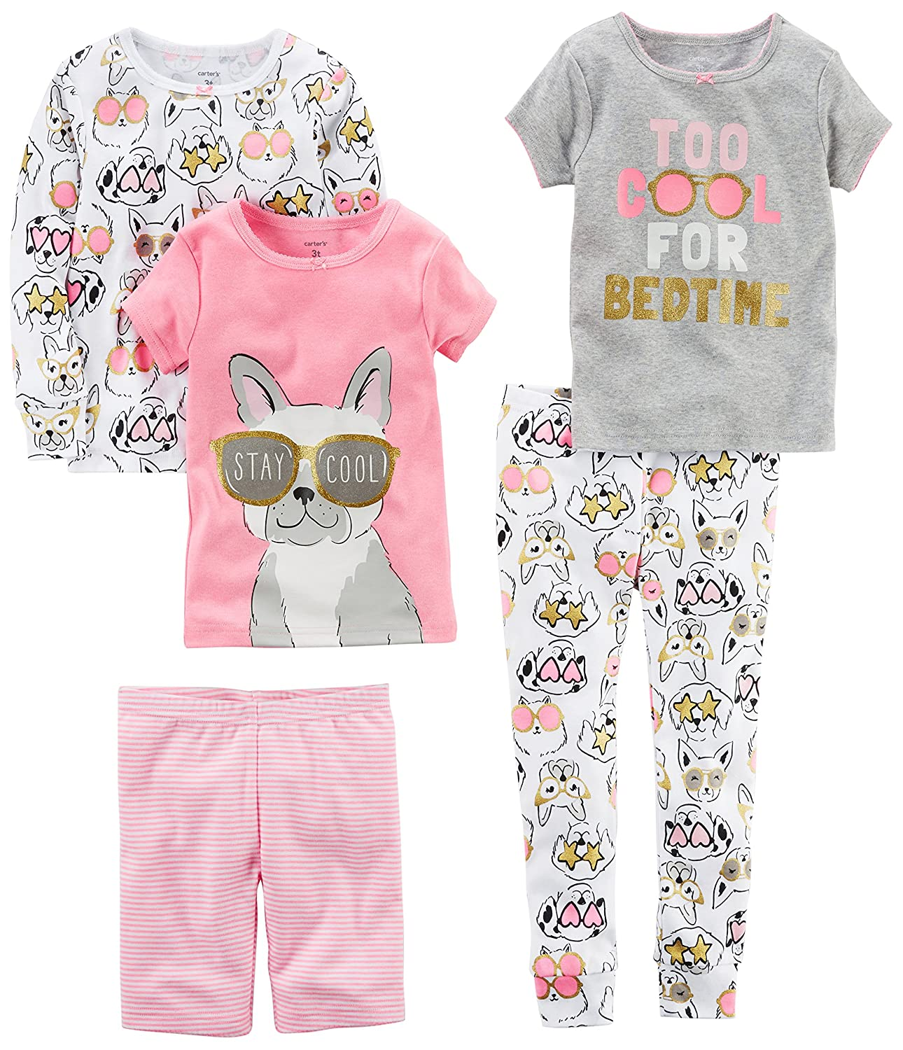 Baby Girls 5-Piece Cotton Snug-fit Pajamas