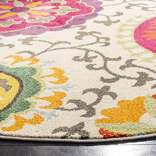 Safavieh Monaco Collection MNC233A Modern Colorful Floral Ivory and Multicolored Round Area Rug 6'7″ Diameter