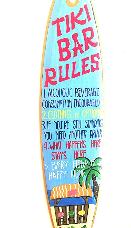 XL Tiki Bar reglas - cartel de madera náutico tabla de surf potable ...