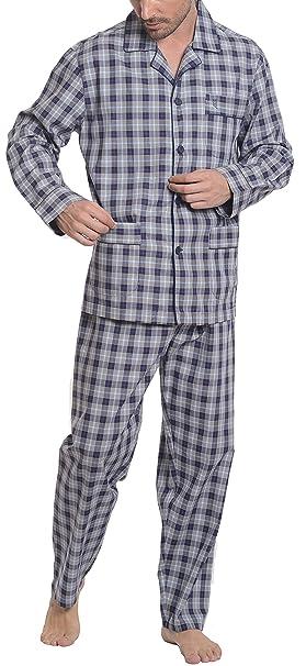 Pijama de Caballero Largo clásico a Cuadros y Finas Rayas/Ropa de Dormir para Hombre