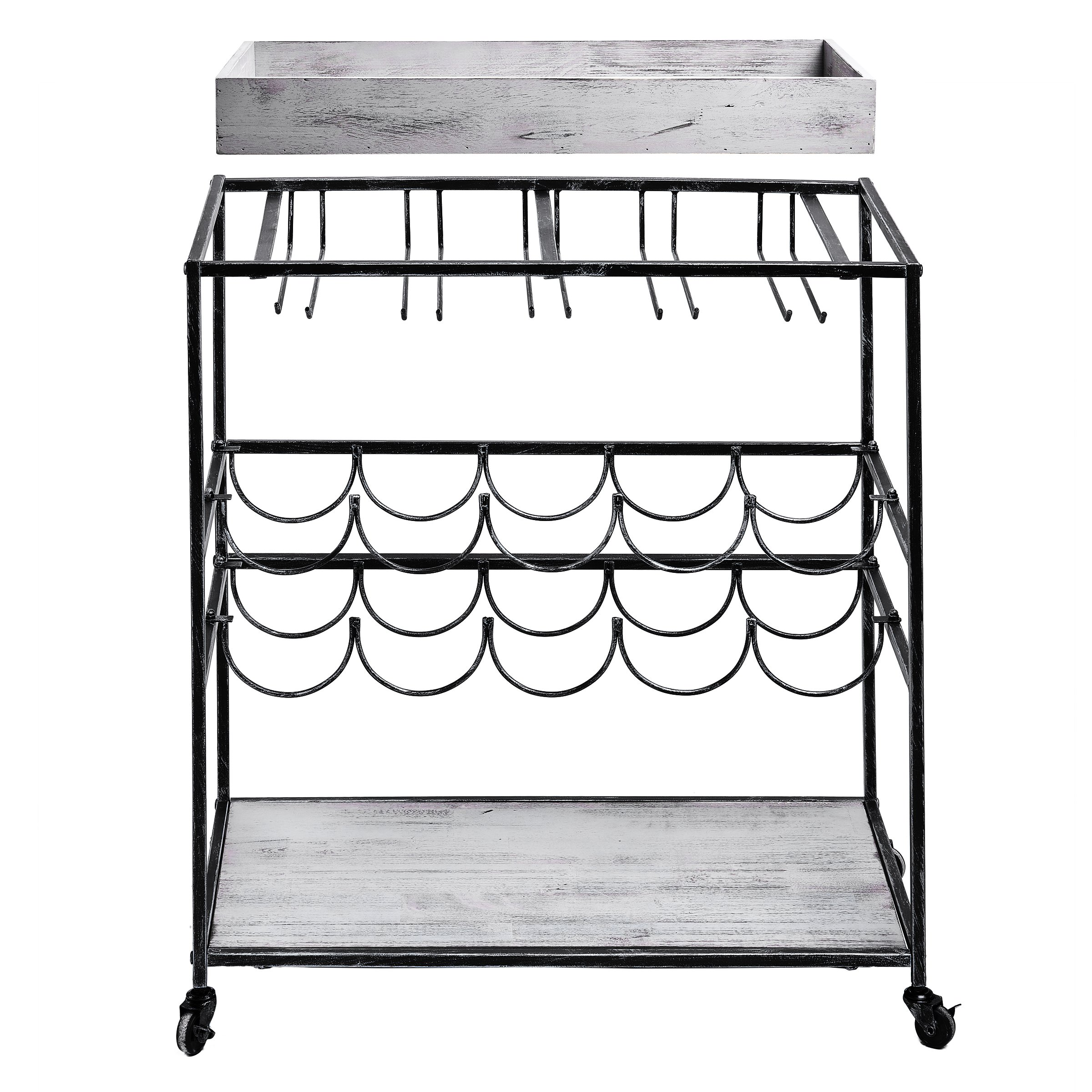 Old Dutch ''Avalon'' Wine and Serving Cart, Antique Pewter /Barnwood Gray, 28'' x 16'' x 32'' by Old Dutch (Image #3)