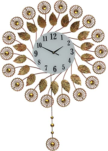 IMPORTED GIFT DEPOT Large Gold Autumn Flower and Crystal Pendulum Wall Clock