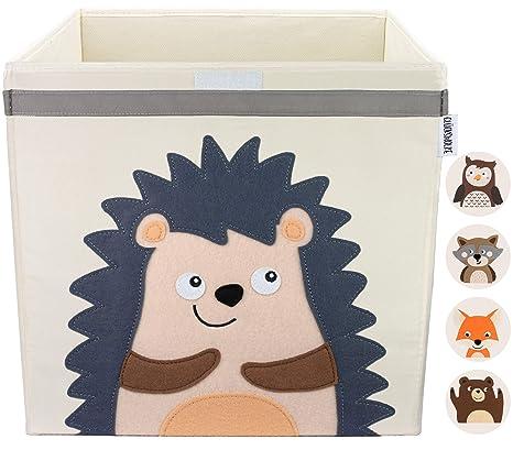 Gluckswolke Kinder Aufbewahrungsbox I Spielzeugkiste Mit Deckel Und Griffe Fur Kinderzimmer I Spielzeug Box Igel 33x33x33 Zur Aufbewahrung Im Kallax