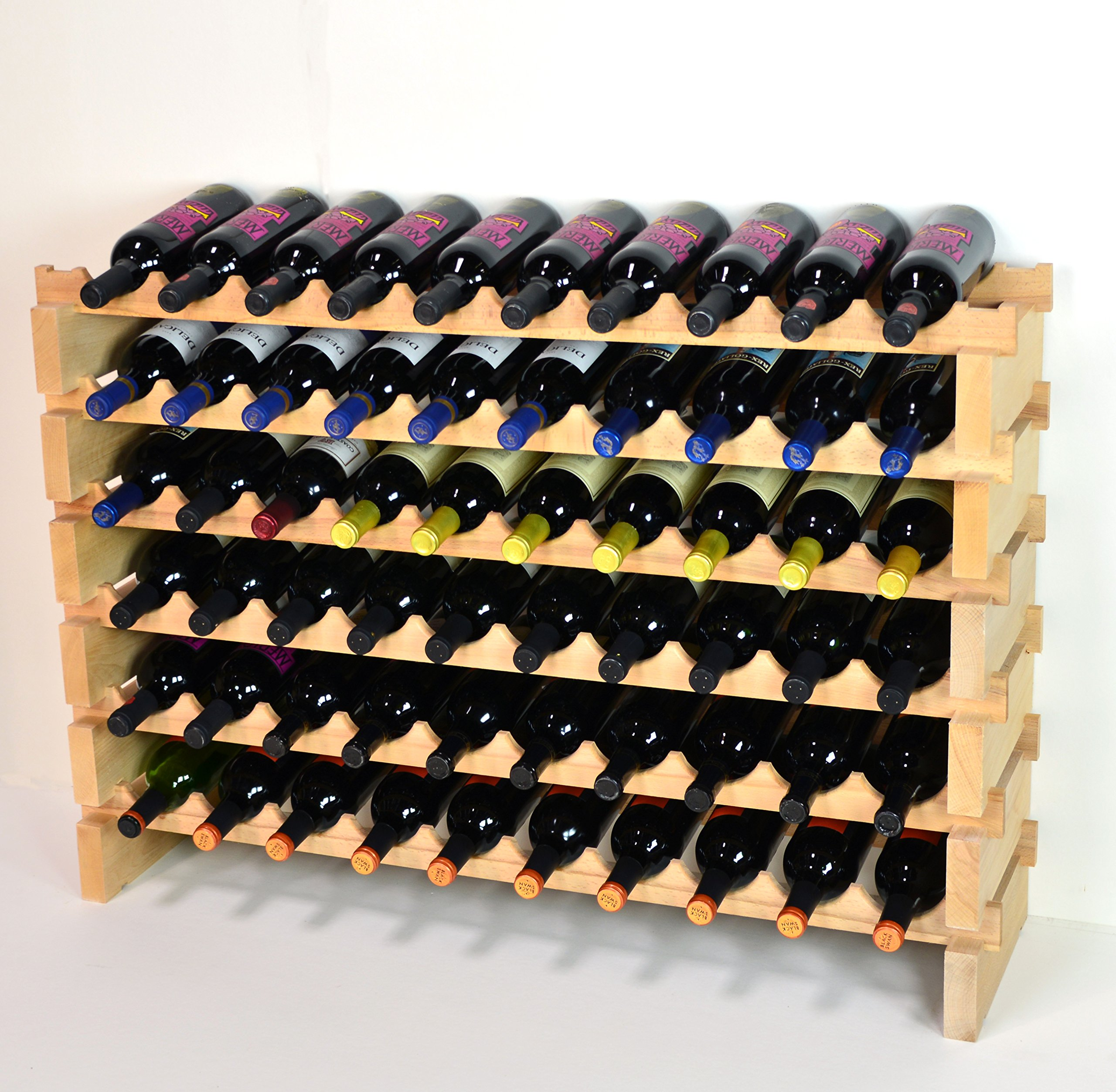 Modular Wine Rack Beechwood 40-120 Bottle Capacity 10 Bottles Across up to 12 Rows Newest Improved Model (60 Bottles - 6 Rows)