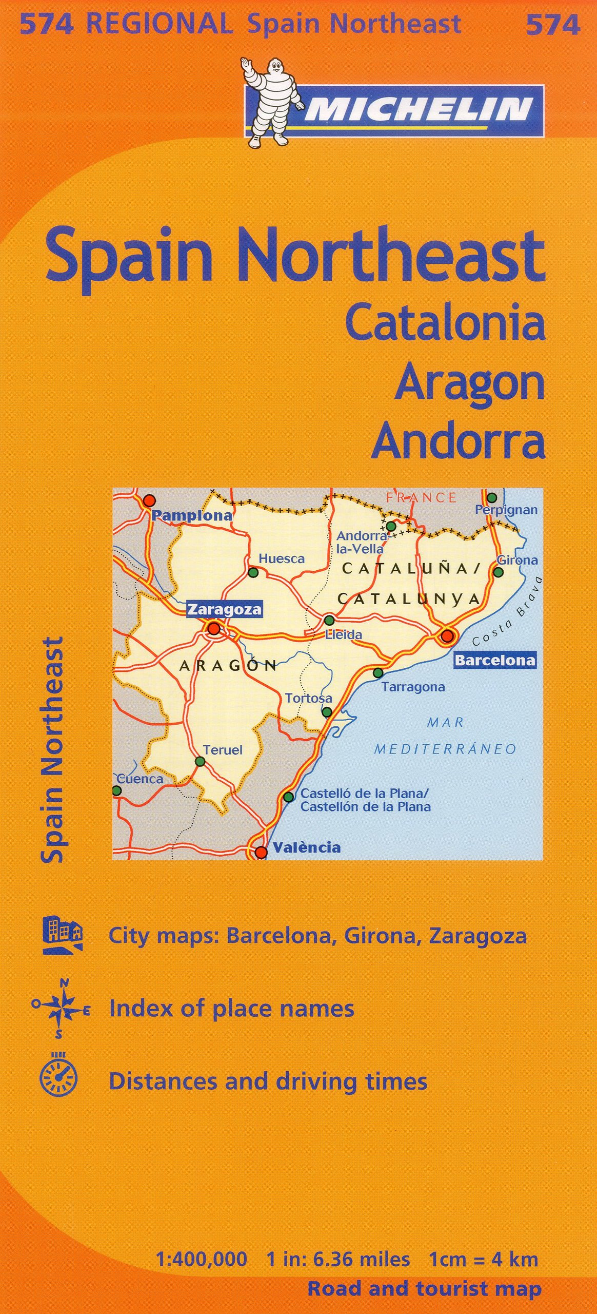 Travel Map Of Spain.Michelin Spain Northeast Catalonia Aragon Andorra Map 574 Maps
