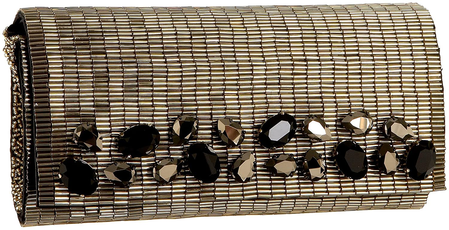 Inge Christopher Gia Beaded Clutch, Gold, One Size