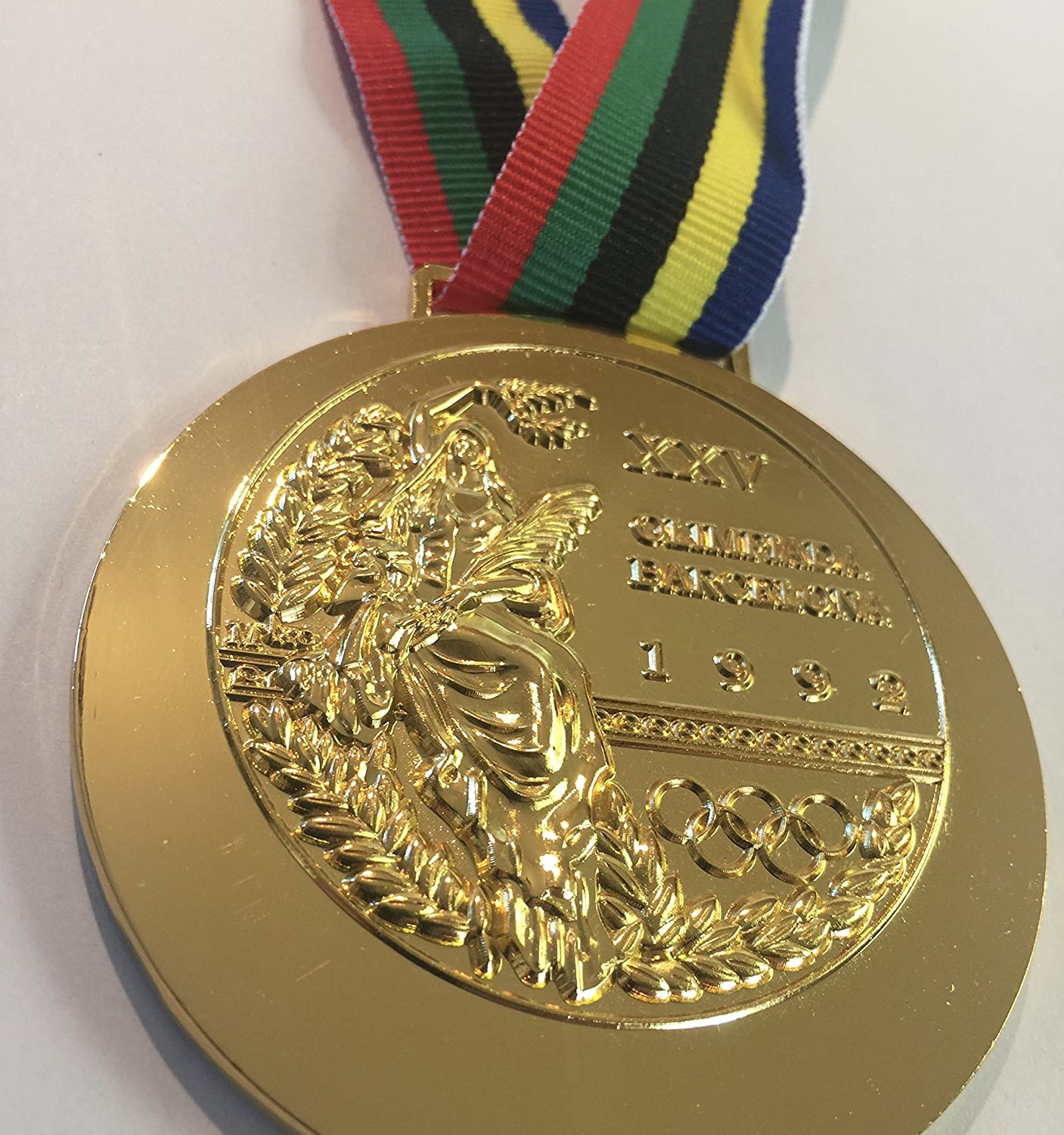 1992 Barcelona SPAIN Olympic Souvenir GOLD Medal with Ribbon RARE TEAM USA Not a Pin or Coin