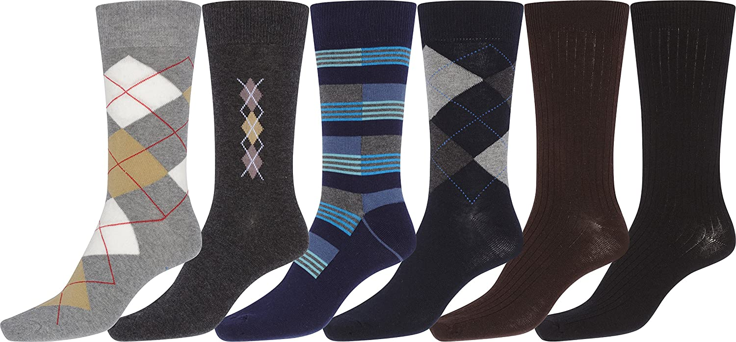 Sakkas Mens Cotton Blend Ribbed Dress Socks Value 6-Pack Black