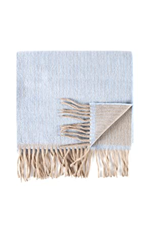 Great   British Knitwear - 75% Laine 25% Angora Écharpe Rayée - Bleu ... 8a9e339c4b0