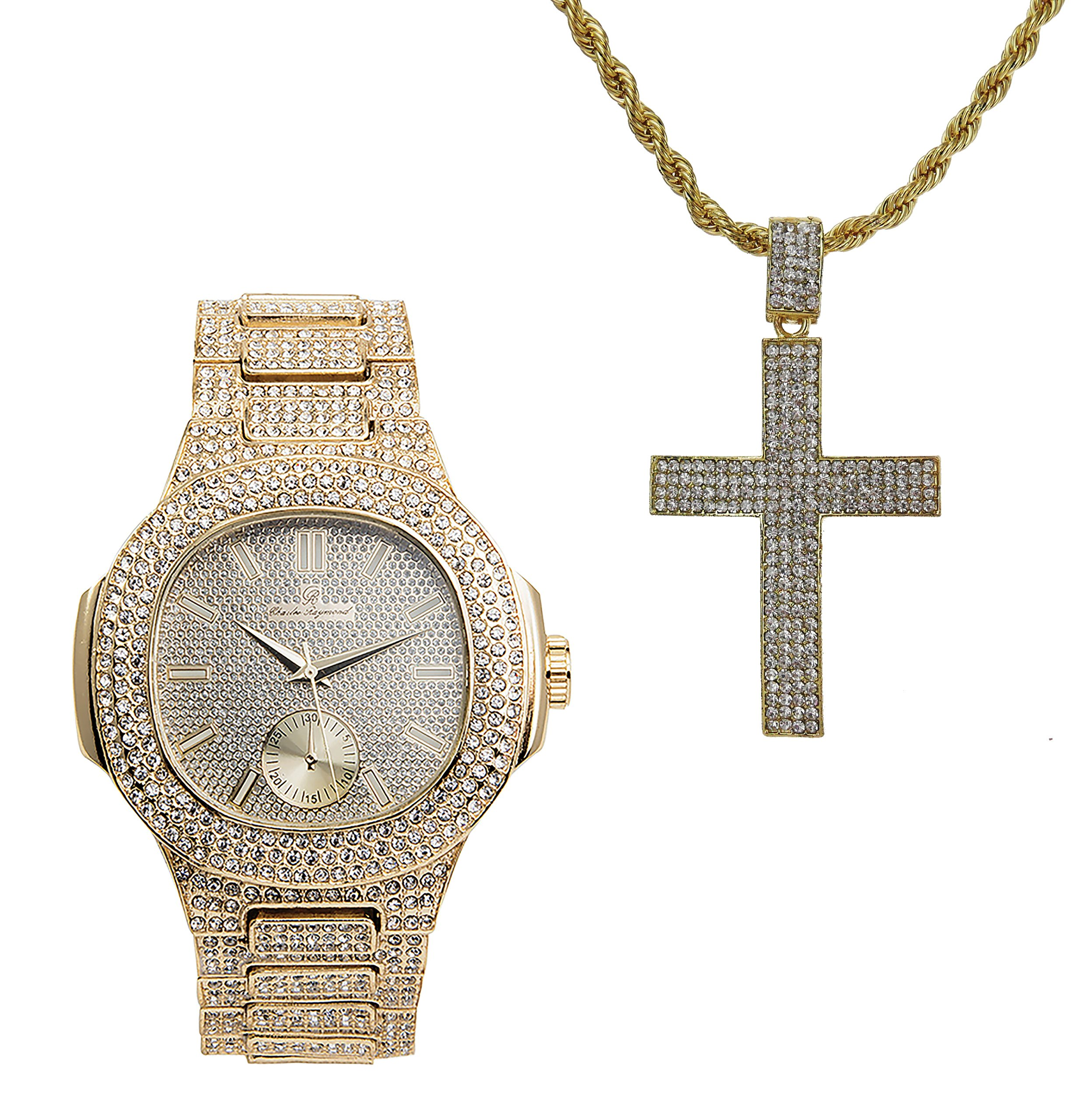 Hip Hop Ice'd Out Cross Charm on Rope Necklace with Bling Mens Watch fit for a King!! 8475-SSS42 Gold