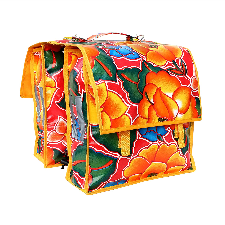Sacoche vé lo pour porte-bagage - Sacoche de selle - Pack Sacoche en toile ciré e pour femme, artisanal Tehuana rouge, fleuri