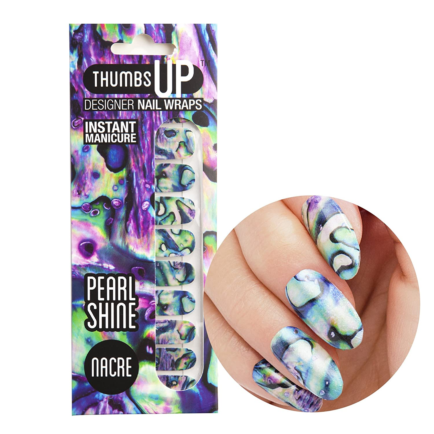 ThumbsUp Nails Nacre Pearlescent Pearly Nail Wraps / Self-adhesive / Nail Foil Polish Strips / Full Coverage Nail Art Stickers / 20 Wraps Per Pack