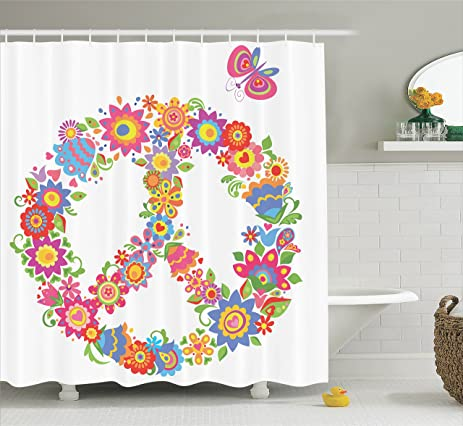 Pink Shower Curtain Hippie Decor By Ambesonne, Peace Sign With Flowers  Colorful Illustration Print World