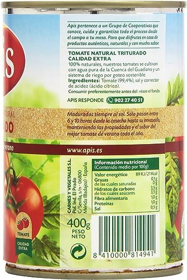 Apis Tomate Triturado, 100% natural - 400 g: Amazon.es ...