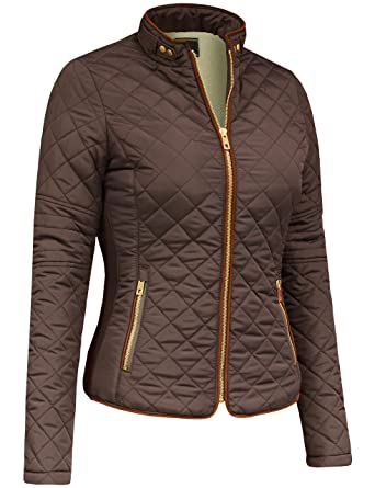 2f959f733b9 DOUBLDO Womens Quilted Solid Faux Fur Lined Long Sleeve Zip Up Jacket-S -BROWN
